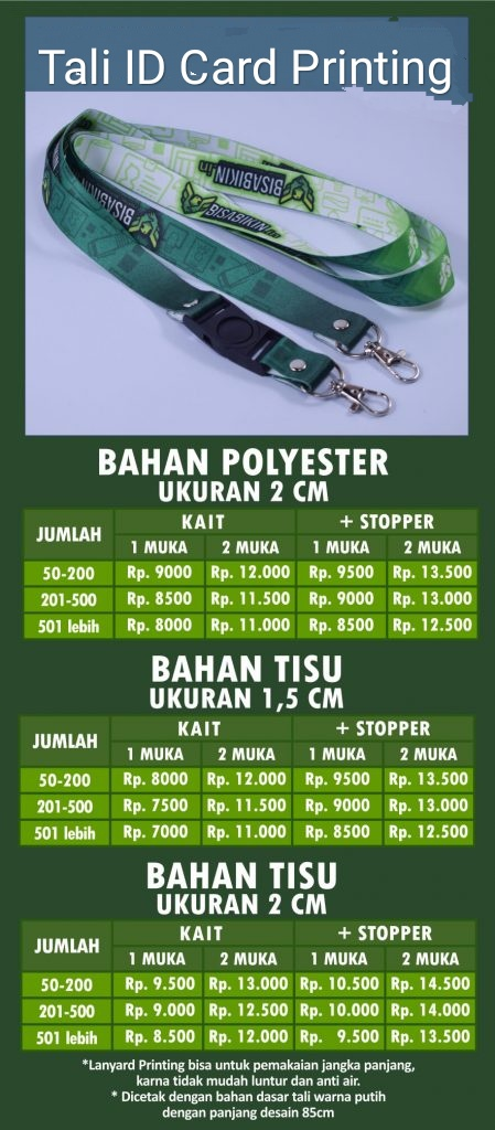 Daftar Harga tali id card printing