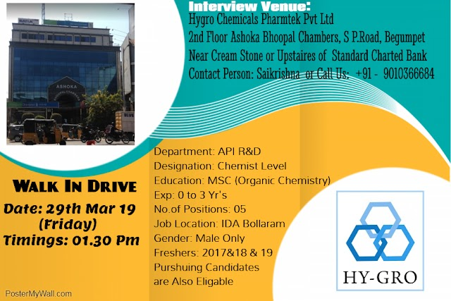 HY-GRO Chemicals - Walk-In Drive for MSc Chemistry Freshers on 29th Mar' 2019