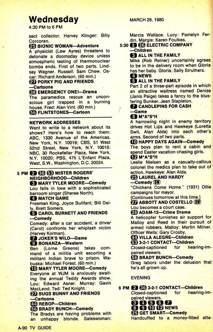 TV Guide Time Machine More TV Guide Blurbs 1980