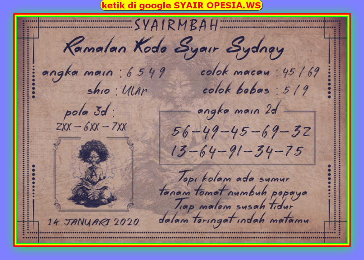 Kode syair Sydney Selasa 14 Januari 2020 58