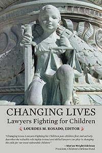 Changing Lives cover - architectural frieze with child holding sword and scales of justice