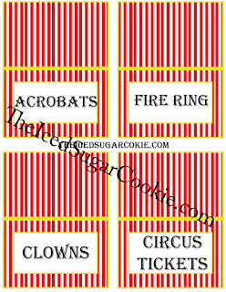 Circus food Cards- Acrobats, Fire Ring, Clowns, Circus Tickets