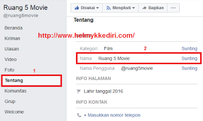Cara merubah nama halaman facebook