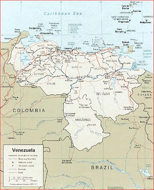 Gambar Peta politik Venezuela