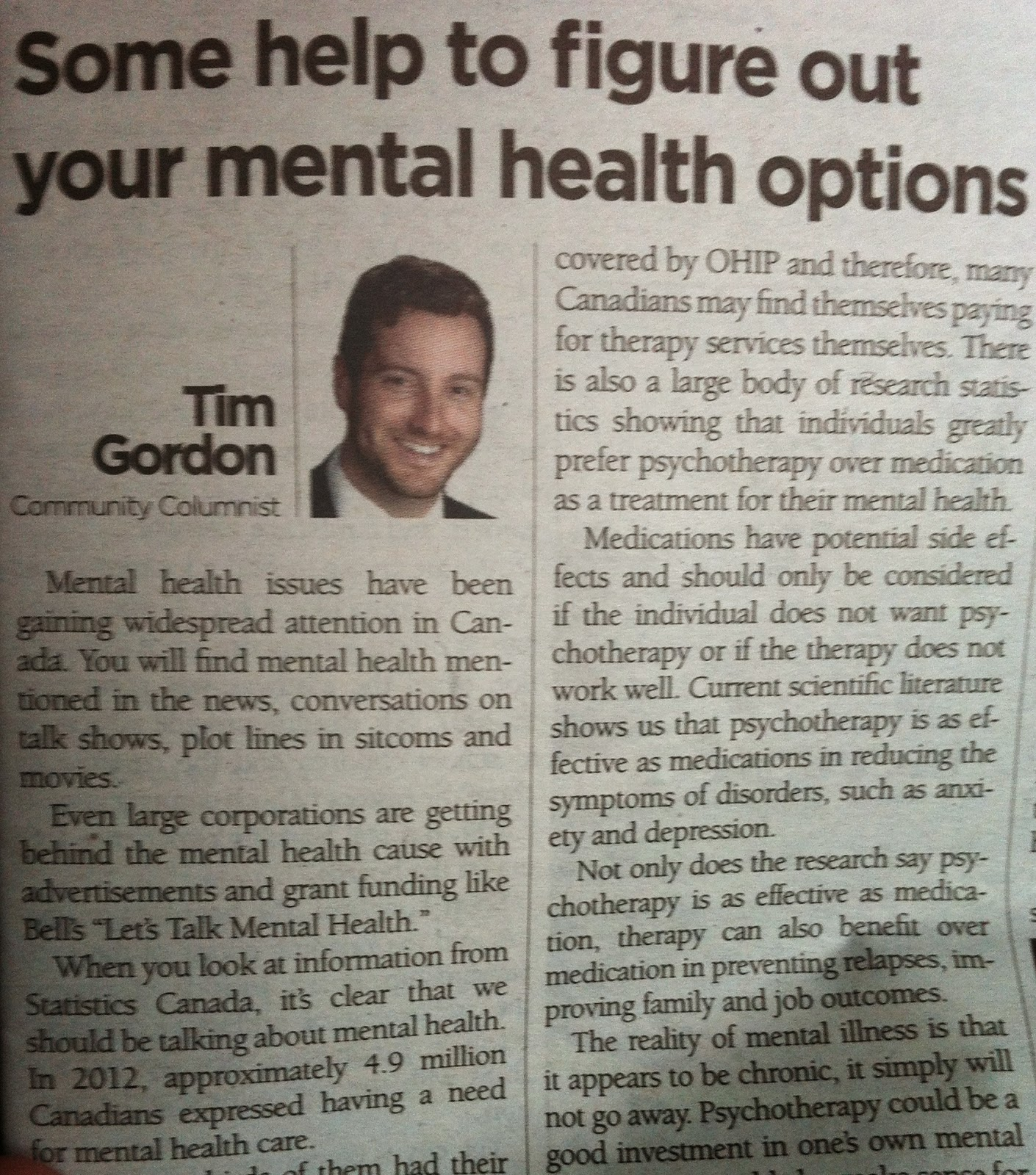 newspaper report related to psychological and mental health