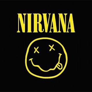 """Logo Nirvana. Texto y """"smile grogui"""" amarillos sobre fondo negro"""