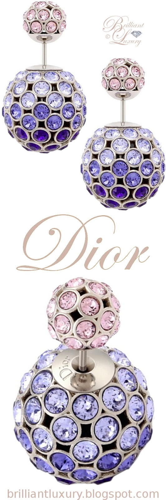 Brilliant Luxury ♦ Dior 'Mise en Dior' tribal-inspired earrings in pink and purple