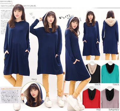 Jual Tunik Korean Hoodie Dress - 12576