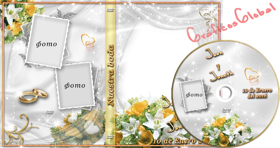Plantilla psd para crear portadas y etiqueta DVD Bodas