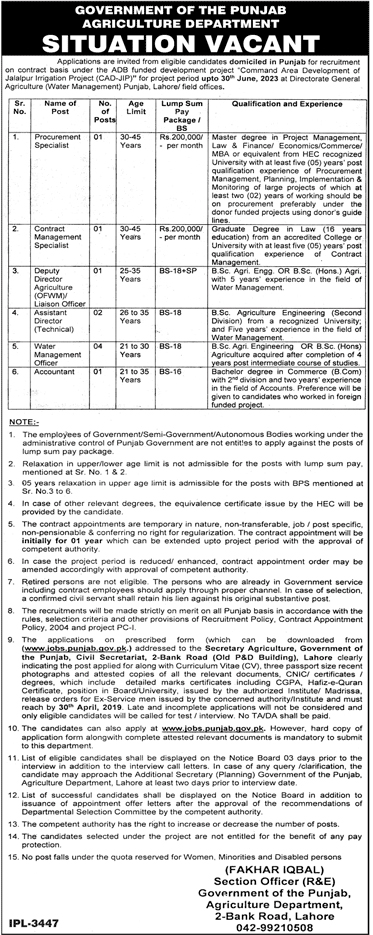 Agriculture Department Punjab jobs 2019 by Govt Of Punjab