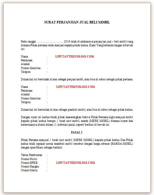 Contoh Surat Jual Beli Informasi Seputar Dunia Militer Dan