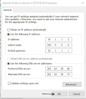 Setting IP Address Client