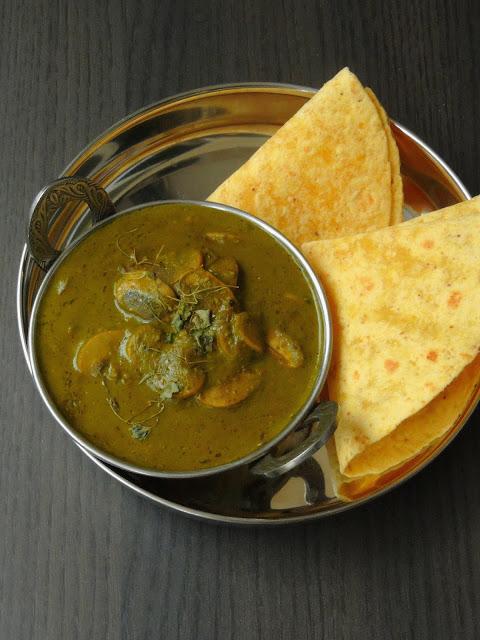 Kashmiri Saag Haddar Yakhni , Mushroom in Yogurt sauce