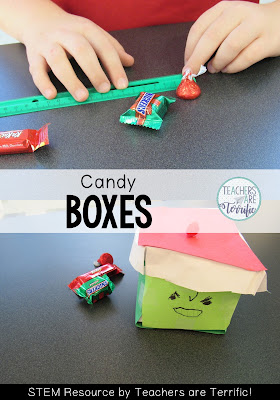 STEM for Christmas: Use Christmas candy and build the perfect container to hold it! Check this blog post for more Christmas STEM!