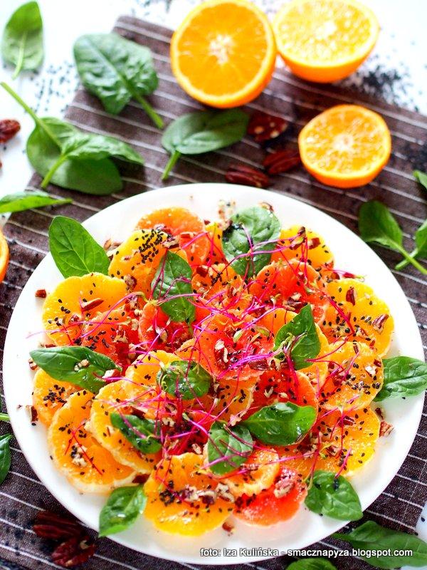 salatka z pomaranczy, pomarancze, bomba witaminowa, slonce na talerzu, zdrowo i kolorowo, witaminy