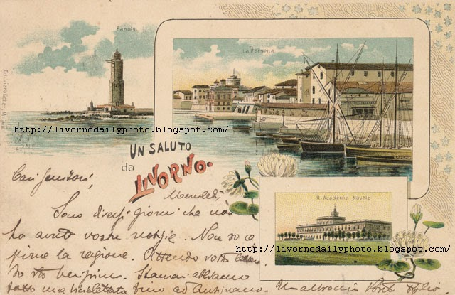 Old postcard, greetings from Livorno