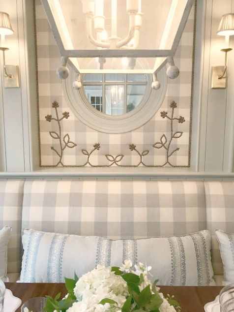 Stunning blue and white checks in breakfast area in kitchen in 2017 Southeastern Designer Showhouse in Atlanta