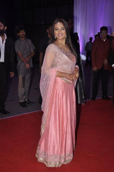 Sonakshi Sinha's New Look in Pink Embroidery Lehenga Choli