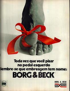 propaganda embreagem Borg & Beck - 1979. anos 70. propaganda anos 70, década de 70, reclame anos 70, Oswaldo Hernandez,