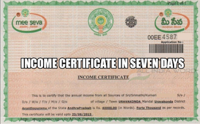 Income Certificate in Telangana