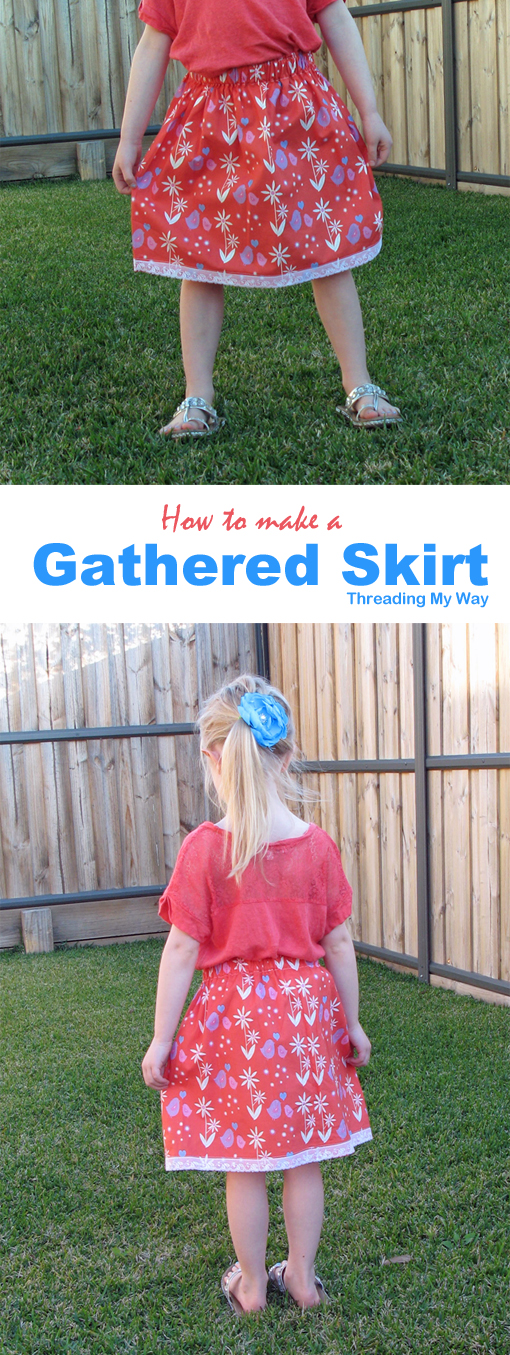 Learn how to take measurements and make a simple gathered skirt for girls of any age. Easy project if you are new to sewing Tutorial by Threading My Way