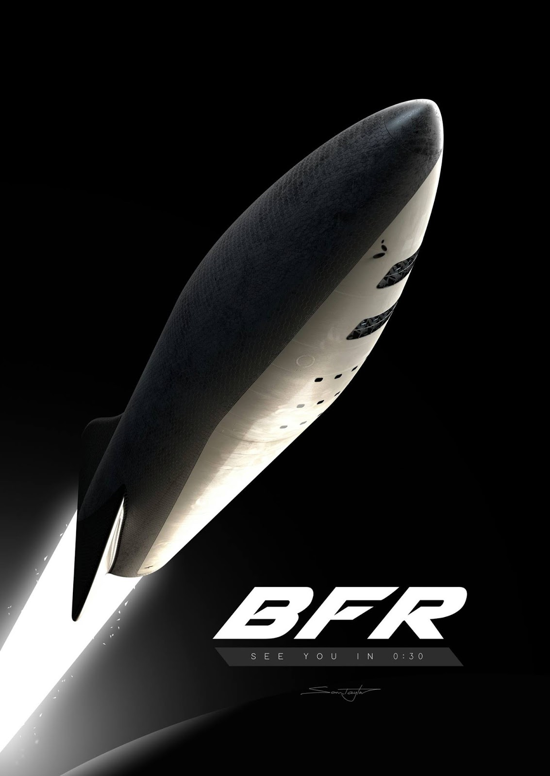 Poster with SpaceX BFR spaceship by Sam Taylor