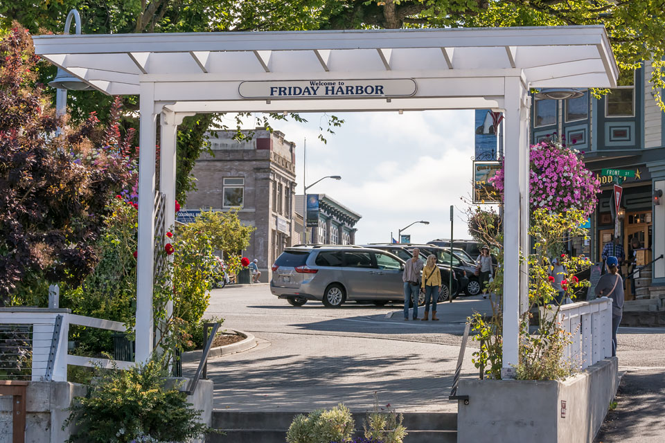 The welcoming arbor in Friday Harbor's Memorial Park, across from the harbor, at the foot of Spring Street.