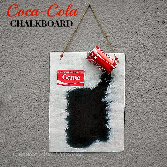 Coca-Cola Chalkboard ~ quick and easy kitchen craft ! #CocaCola #Chalkboard #ChalkPaint #MenuBoard #NoteBoard