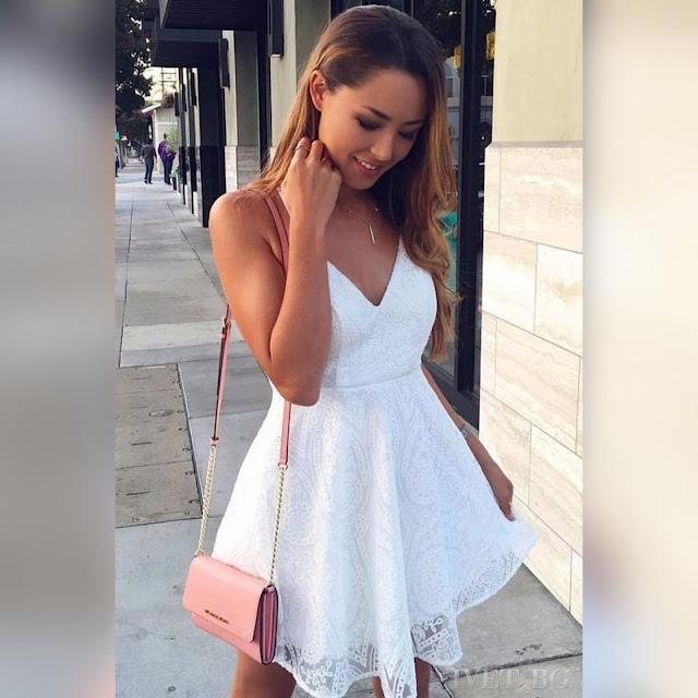 Αμάνικο κοντό άσπρο φόρεμα MANDY