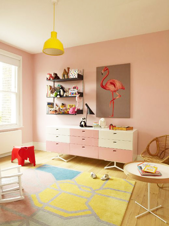 Blush Pink with yellow children's room