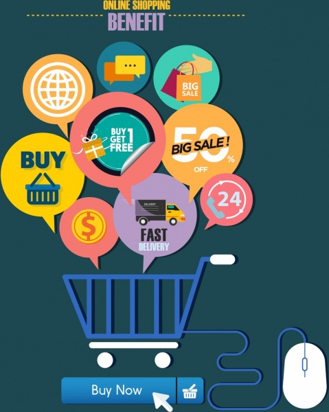 Online shopping benefit concept speech baubles trolley icons Free vector