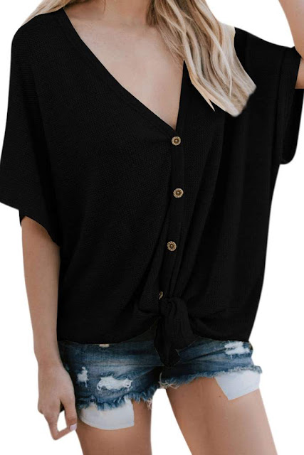 Iyasson Women Button Down Short Sleeve V Neck Loose Blouse