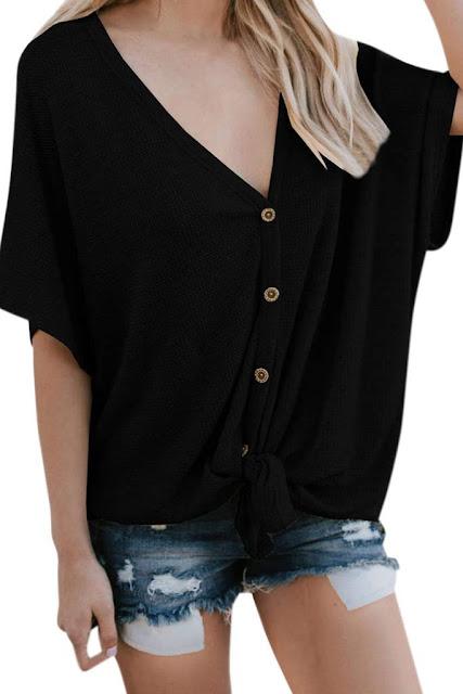 Iyasson Women Button Down Short Sleeve V Neck Loose Blouse