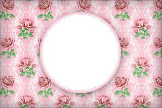 Shabby Chic with Pink Roses: Free Printable Invitations.