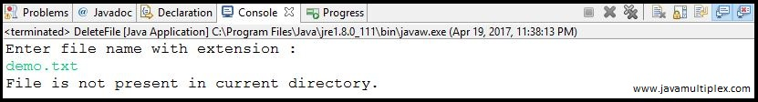 Output of Java program that deletes a given file - case 2