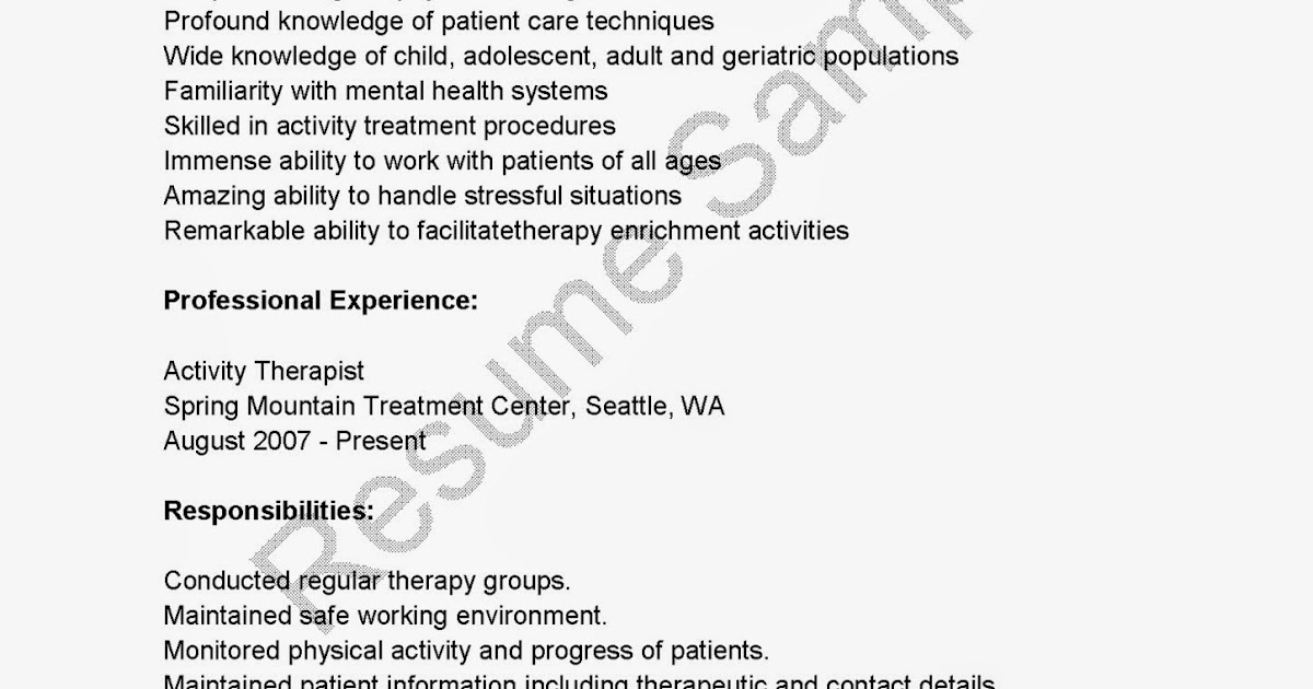Resume Samples: Activity Therapist Resume Sample