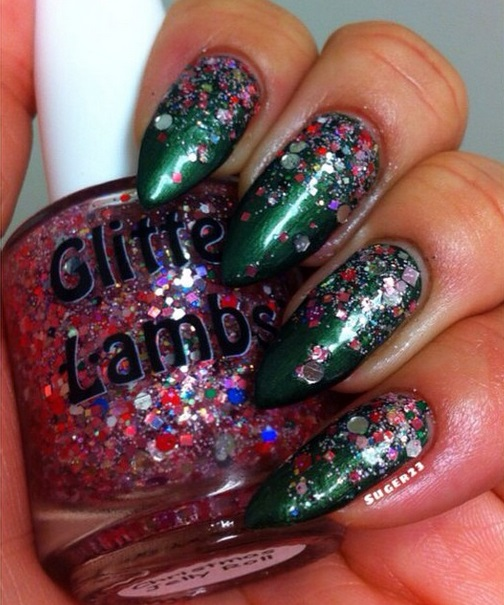 "Glitter Lambs ""Christmas Jelly Roll"" glitter topper nail polish worn by @Suger23"