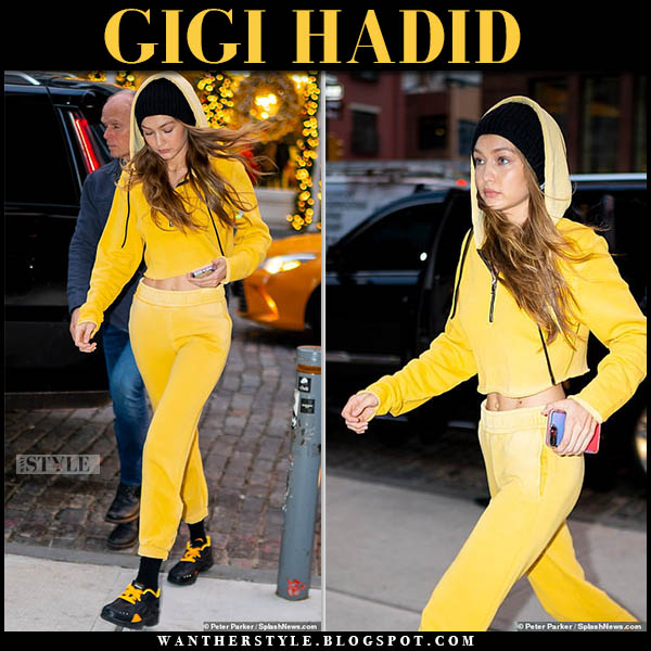 Gigi Hadid in yellow cropped hoodie and yellow sweatpants cotton citizen casual off duty outfit december 29
