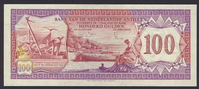 Netherlands Antilles currency 100 Gulden banknote
