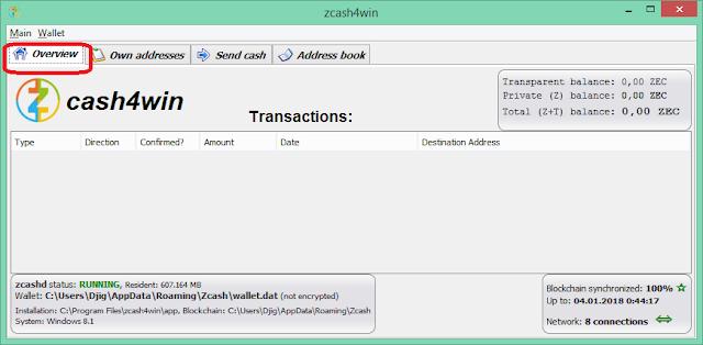 История транзакций кошелька Zcash