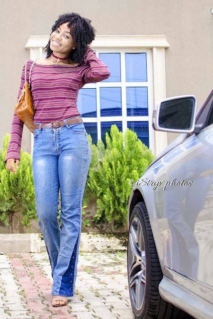 flared-70-jeans-stripped-off-shoulder-bell-sleeve-top-nigerian-fashion-blogger
