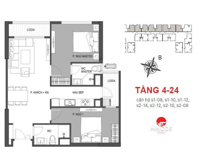 Thiết kế căn 08 - 10 - 12 - 14 tòa Sachi