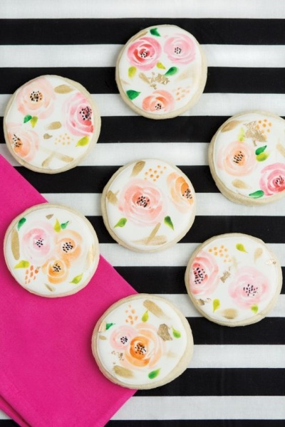 5. Watercolor Floral Cookies