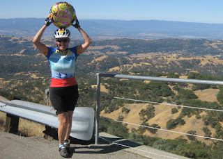 pep with a Happy Birthday balloon atop Mt. Hamilton, California