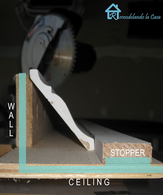 miter saw jig used to cut crown moldings
