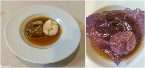 Huevos poché con foie en caldo de pularda con crujiente de patata morada en el restaurante Etxanobe en Bilbao