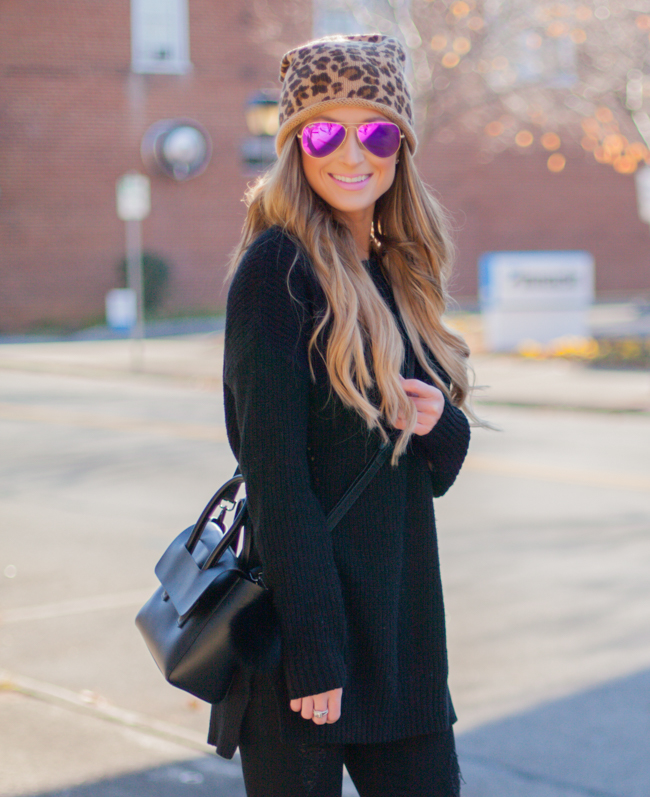 pink rayban aviators with bp. leopard beanie