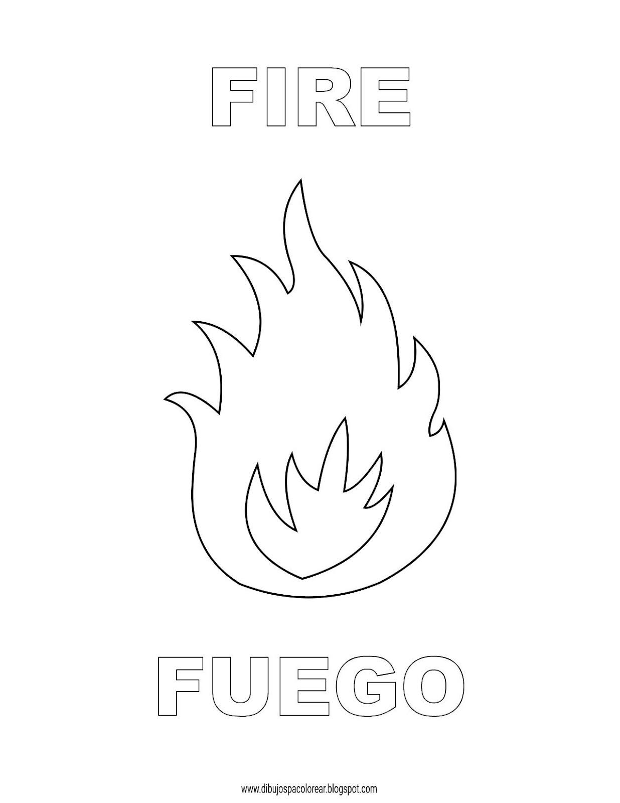 Dibujos Inglés Español Con F Fuego Fire Dibujospacolorearcom