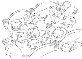 Cute Hamster Sleeping Coloring Sheet Images
