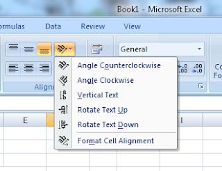 Fitur untuk memutar teks horizontal/vertikal pada excel